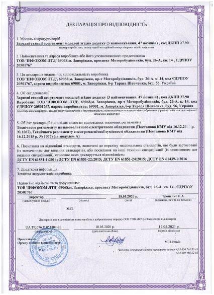 Декларація про відповідність електрозаправок